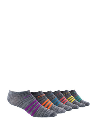 Adidas Superlite Six-Pack No-Show Socks-GREY-Medium