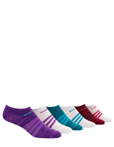 Adidas Six-Pack Superlite No-Show Socks Set-PURPLE-One Size