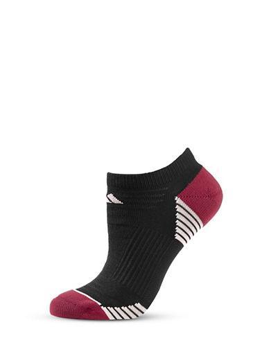 Adidas Two-Pair Striped Mesh Climalite Socks-BLACK-One Size