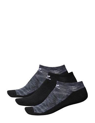 Adidas Three-Pack Roller Space Dye Ankle Socks-BLACK-Large