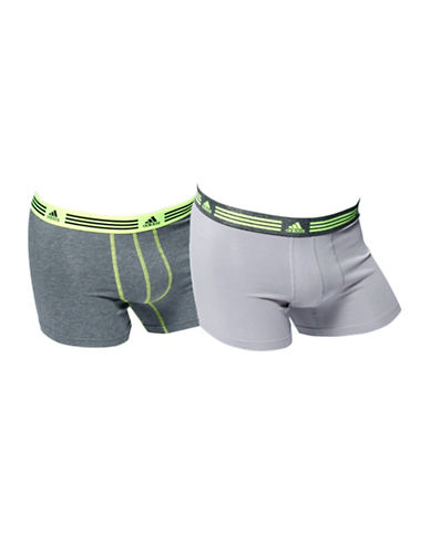 Adidas Two-Pack Athletic Stretch Trunks-GREY-Small