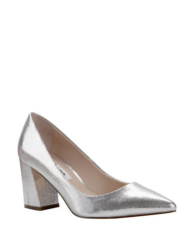 Nina Tinsley Block Heel Pumps-SILVER-5