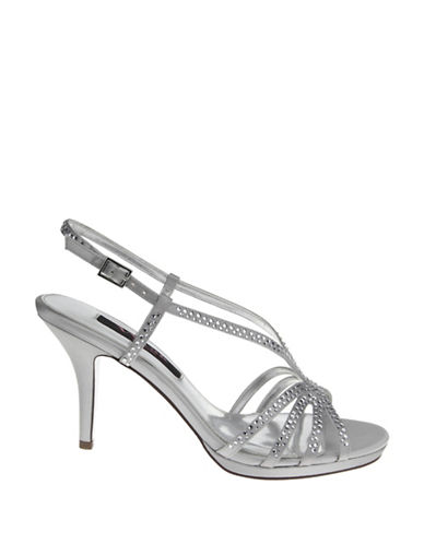 Nina Bobbie Satin Evening Sandals-SILVER-7