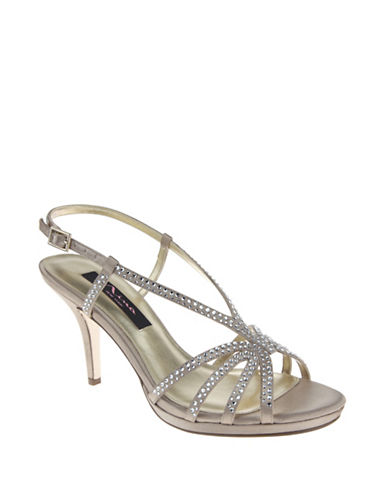 Nina Bobbie Satin Evening Sandals-CHAMPAGNE-7.5