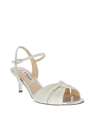 Nina Camille Pleated Sandals-SILVER/WHITE-9.5