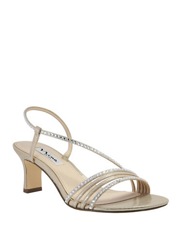 Nina Gerri Kitten Heel Sandals-GOLD-8.5