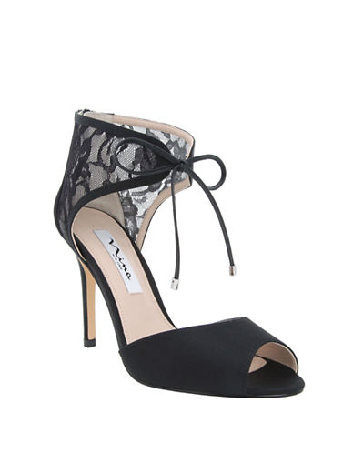 Nina Malini Lace and Mesh Peep Toe Stilettos-BLACK-9.5