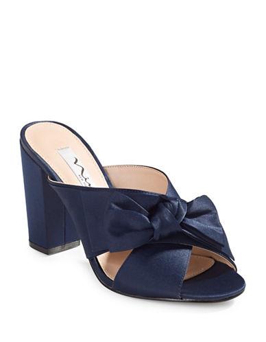 Nina Samina Cross-Strap Bow Sandals-BLUE-8.5