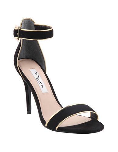 Nina Caela High-Heel Faux Suede Sandals-BLACK-7.5