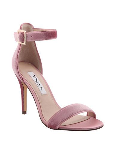 Nina Caela High-Heel Velvet Sandals-ROSE-6.5