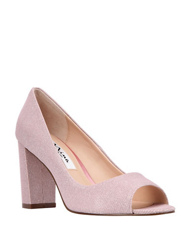 Nina Metallic Peep-Toe Pumps-ROSE-8