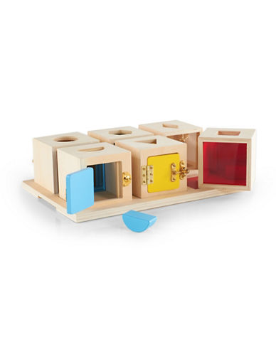 Guidecraft Inc Peek-A-Boo Lock Boxes Toy Set of 6-MULTICOLOR-One Size