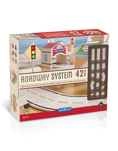 Guidecraft Inc Roadway System 42-Piece Toy Set-NATURAL-One Size