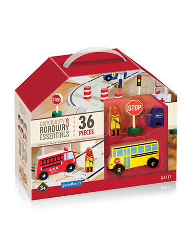 Guidecraft Inc Community and Roadway Essentials 36-Piece Toy Set-MULTICOLOR-One Size