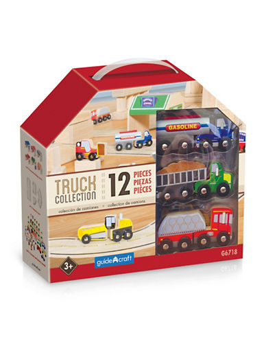 Guidecraft Inc Wooden Truck Collection 12-Piece Toy Set-MULTI-COLOUR-One Size