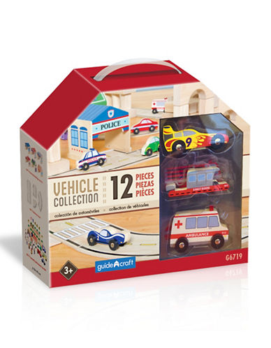 Guidecraft Inc Wooden Vehicle Collection 12-Piece Toy Set-MULTI-COLOUR-One Size