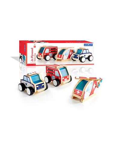 Guidecraft Inc Jr Plywood Community Trucks Three-Piece Set-MULTICOLOR-One Size