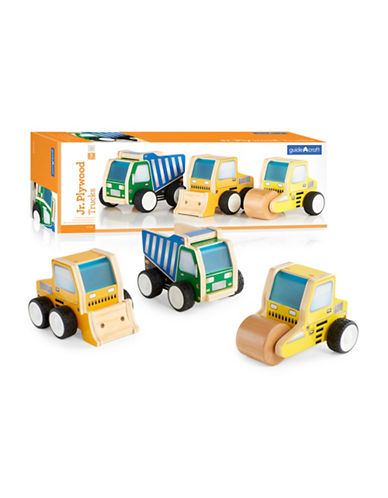 Guidecraft Inc Jr Plywood Construction Trucks Three-Piece Set-MULTICOLOR-One Size