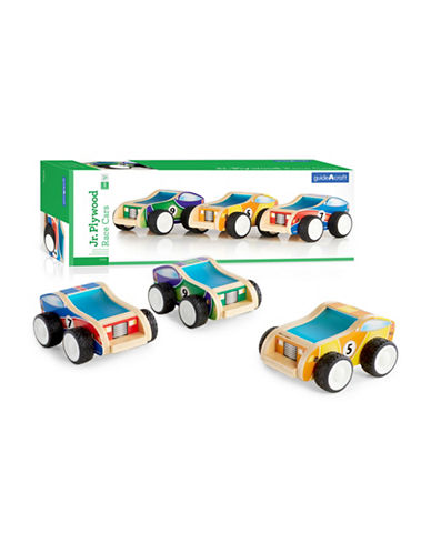 Guidecraft Inc Jr Plywood Race Cars Three-Piece Set-MULTICOLOR-One Size
