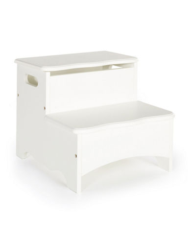 Guidecraft Inc Classic White Storage Step-Up Stool-WHITE-One Size