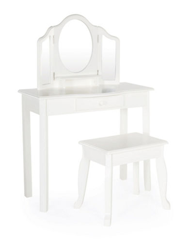 Guidecraft Inc Classic White Vanity and Stool-WHITE-One Size