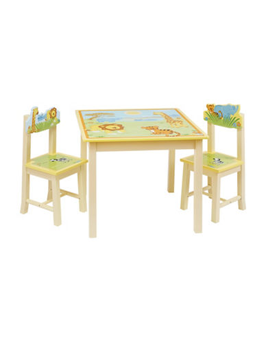 Guidecraft Inc Savanna Smiles Table and Chairs Three-Piece Set-MULTI-COLOURED-One Size
