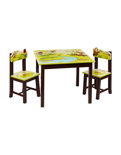 Guidecraft Inc Jungle Party Table and Chairs Three-Piece Set-MULTICOLOR-One Size