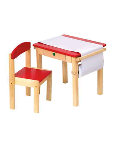 Guidecraft Inc Art Table and Chair Set-RED-One Size