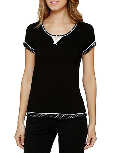 Kensie Short Sleeve Sleep Tee-BLACK-Medium 88061965_BLACK_Medium