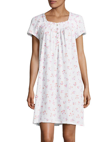Aria Printed Short Night Gown-PINK FLORAL-Medium