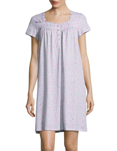 Aria Printed Short Night Gown-GREY-Small
