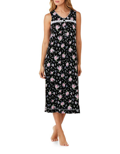 Aria Bouquet Floral Nightgown-BLACK FLORAL-Small