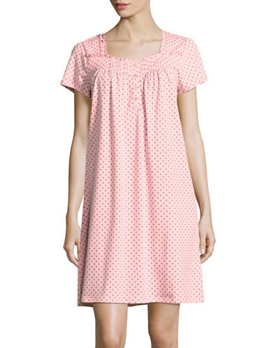 Aria Printed Short Night Gown-PINK PRINT-Large