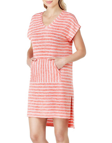 Kensie Sweater Striped Sleep Shirt-PEACH-Large
