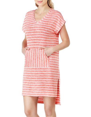 Kensie Sweater Striped Sleep Shirt-PEACH-Small