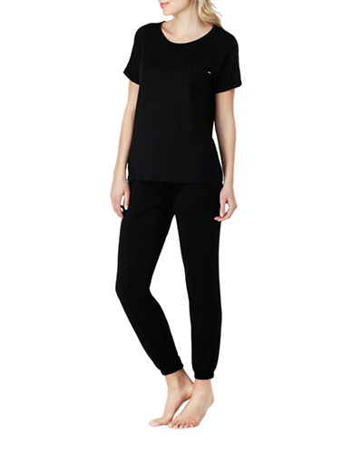 Kensie Crew Neck Pocket Sleep Tee-BLACK-Medium