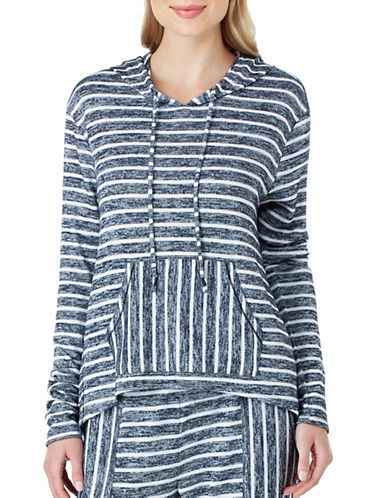 Kensie Striped Sweater Hoodie-BLUE-X-Large 89011207_BLUE_X-Large