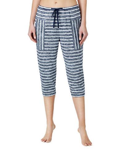 Kensie Striped Jogger Pajama Pants-BLUE-Large
