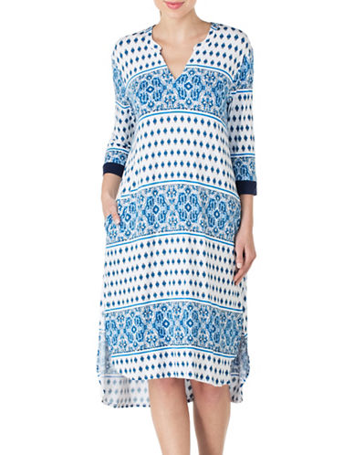 Ellen Tracy Printed Tunic Nightgown-BLUE-Medium