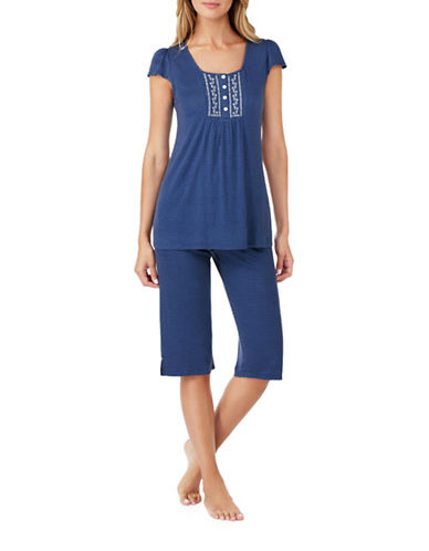 Aria Jersey Capri Pyjama Set-BLUE-Small