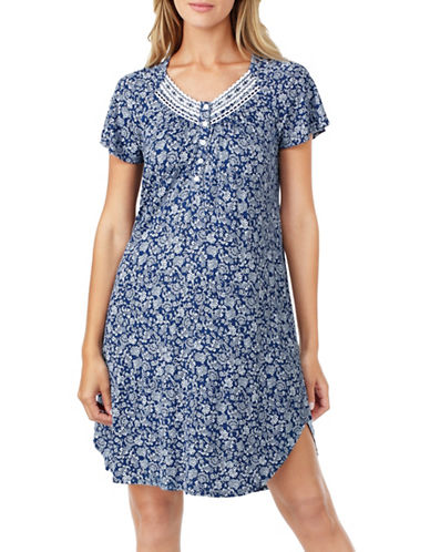 Aria Jersey Flutter Sleeve Short Nightgown-BLUE-Small
