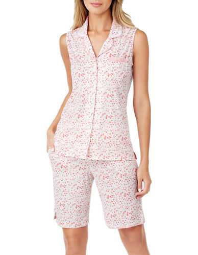 Aria Two-Piece Cotton Jersey Pyjama Set-WHITE-Medium