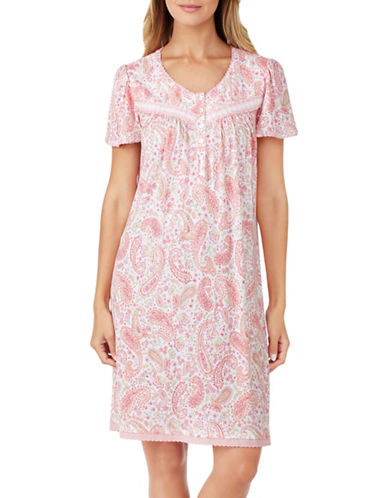 Aria Paisley-Print Jersey Nightgown-CORAL-Medium