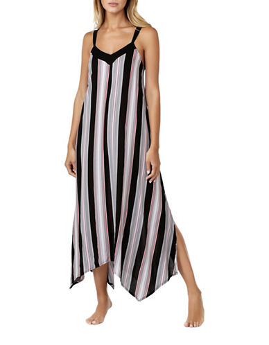 Kensie Striped Sleeveless Gown-BLACK-Medium