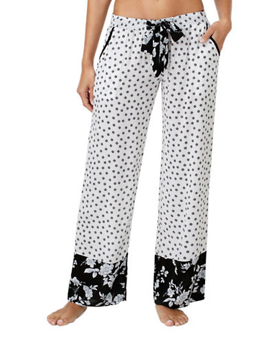 Kensie Geometric-Print Pyjama Pants-BLACK GEO-Medium