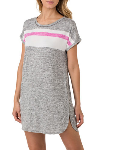 Kensie Striped Slub Sleepshirt-GREY-Small