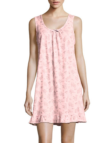 Aria Patterned Short Chemise-PINK FLORAL-Large