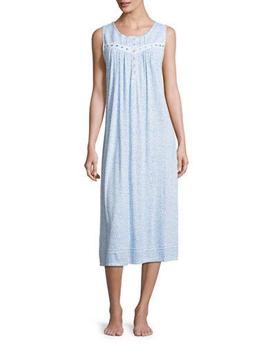 Aria Sleeveless Floral Ballet Nightgown-WHITE/BLUE-Small