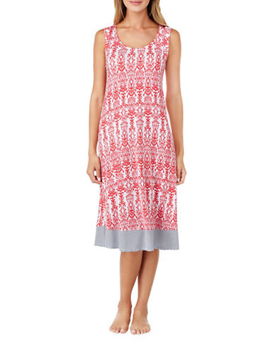 Ellen Tracy Printed Jersey Midi Nightgown-MULTI-Medium