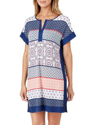 Ellen Tracy Printed Jersey Tunic Sleepshirt-MULTI-Medium